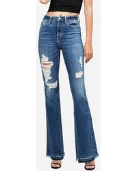 Express Flying Monkey High Waisted Ripped Flare Jeans, Size:32 - Blue