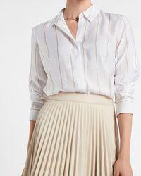 Express Soft Striped Long Sleeve Portofino Shirt Neutral Stripe - Multicolour