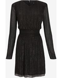 Express Metallic Pleated Padded Shoulder Dress Pitch Black