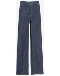 Express High Waisted Perfectly Polished Seamed Wide Leg Palazzo Jeans, Size:00 - Blue