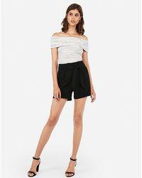 Express Mid Rise Paperbag Dress Shorts Black