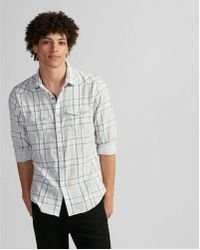 Express - Ig & Tall Slim Plaid Double Weave Western Shirt - Lyst