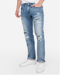 Express Slim Medium Wash Destroyed Soft Cotton Jeans - Blue