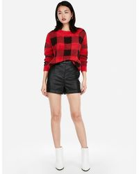 Express - Super High Waisted Cuffed Faux Leather Shorts Black - Lyst