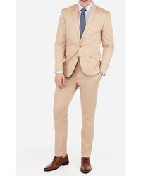 Express Big & Tall Extra Slim Cotton Camel Oxford Stretch Suit Jacket Neutral 46 Short - Natural