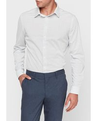 Express Slim Geometric Luxe Comfort Knit Dress Shirt - White