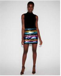 Express - Petite High Waisted Sequin Stripe Mini Skirt - Lyst