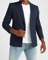 Express Slim Navy Luxe Comfort Knit Double Breasted Blazer Blue Xs