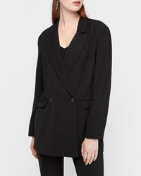 Express Oversized Double Breasted Business Blazer Black