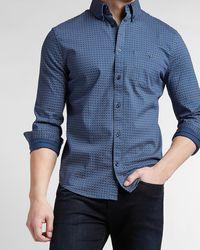 Express Slim Printed Cotton Dress Shirt - Blue
