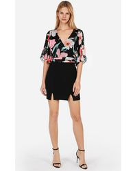 Express - Floral Pleated Kimono-sleeve Top Black - Lyst