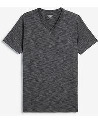 Express Slim Stretch Slub Crew Neck T-shirt Grey S - Gray