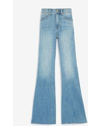 Express Mid Rise Raw Hem Bell Bottom Flare Jeans - Blue