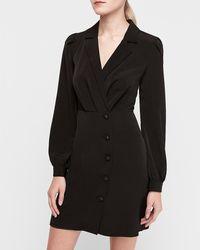 Express Asymmetrical Button Blazer Dress Black