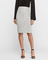 Express High Waisted Jacquard Pencil Skirt White And Black Xxs