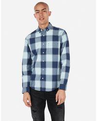 Express Slim Plaid Soft Wash Button-down Shirt Blue Xs