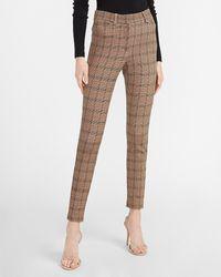 Express High Waisted Plaid Skinny Pant Print - Brown