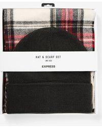 Express Solid Hat & Plaid Scarf Gift Set Black
