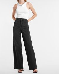 Express Super High Waisted Black 90s Wide Leg Palazzo Jeans, Size:0