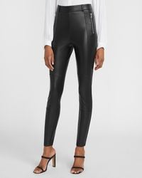 Express High Waisted Faux Leather Zip Front Leggings Pitch Black
