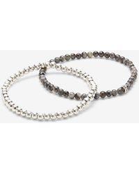 Express 2 Pack Beaded Bracelets - Grey