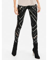 Express Petite High Waisted Patterned Sequin Leggings Black