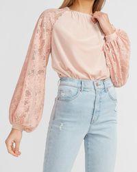 Express Velvet Lace Sleeve Thong Bodysuit Dusty Rose - Pink