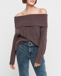 Express Cable Knit Off The Shoulder Jumper Purple