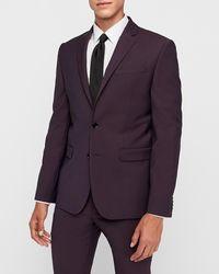 Express Extra Slim Burgundy Wool-blend Performance Stretch Suit Jacket Red 36 Short