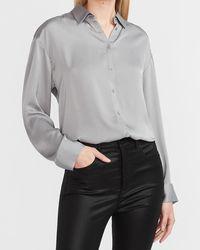 Express Oversized Satin Portofino Shirt Grey Xs