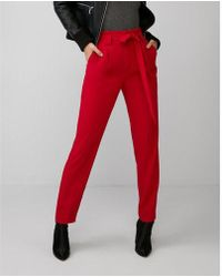 Express - High Waisted Paperbag Ankle Pant - Lyst