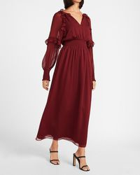 Express Smocked Waist Ruffle Front Maxi Dress Wine - Red
