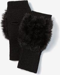Express Faux Fur Fingerless Gloves Black
