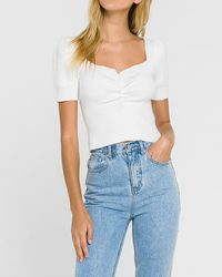 Express Endless Rose Ruched Front Knit Tee White M