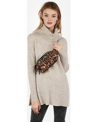 Express Leopard Print Fanny Pack Brown