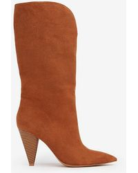 Express Cut-out Cone Heel Western Boots Brown 5