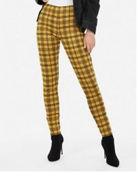 Express - High Waisted Plaid Ankle Leggings - Lyst