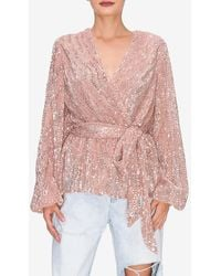 Express Endless Rose Sequin Wrap Tie Blouse Pink