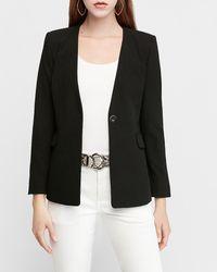 Express - Collarless One Button Business Blazer Black 00 - Lyst