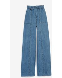 Express High Waisted Belted Wide Leg Palazzo Jeans, Size:00 - Blue