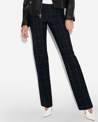Express - Low Rise Plaid Barely Boot Editor Pant Blue Print - Lyst