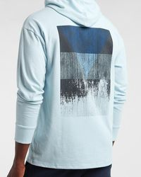 Express Light Blue Logo Hooded Long Sleeve Graphic T-shirt Blue Xs