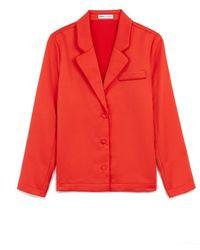 Express Ladygang Satin Pyjama Shirt Red Xs