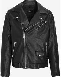 Express Asymmetrical Zip Faux Leather Moto Jacket - Black