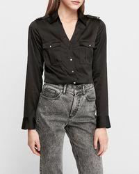 Express Slim Fit Satin Military Portofino Shirt Black Xxs