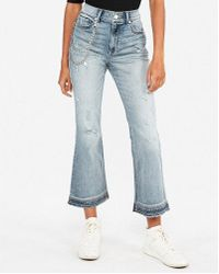 Express - High Waisted Original Vintage Cropped Flare Jeans, Women's Size:00 - Lyst