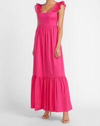Express Ruffle Sleeve Maxi Dress Pink Xxs