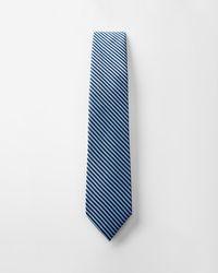 Express Striped Narrow Silk Tie Blue