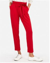 Express - Mid Rise Jersey Paperbag Pant - Lyst