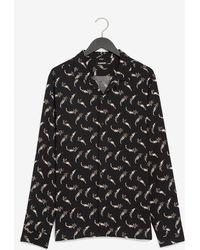 Express Slim Floral Print Rayon Shirt Black Xs